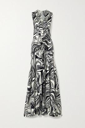 Silvia Tcherassi Egle Ruched Printed Silk-blend Satin Maxi Dress - Black