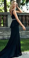 Alyce Paris Crepe Rhinestone Embellished Peplum Fit and Flare Evening Dress