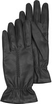 Forzieri Black Leather Women's Gloves w/Wool Lining