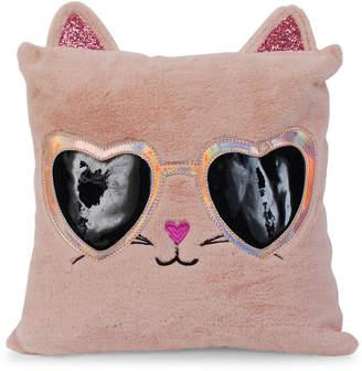 Omg! Accessories Faux Fur Sunglasses Cat Decorative Pillow