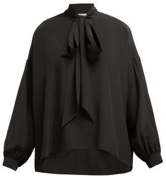 Balenciaga Oversized Pussy-bow Silk-crepe Blouse - Womens - Black