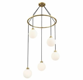 Wrought Studio Galaviz 5-Light Cluster Globe Pendant Finish: Natural Brass, Shade Color: White
