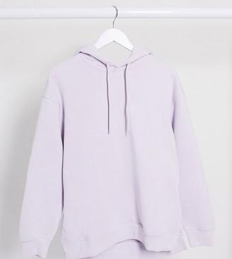 Weekday Marcie organic cotton longline hoodie in lilac