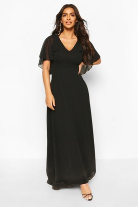 boohoo Chiffon Cape Sleeve Maxi Bridesmaid Dress