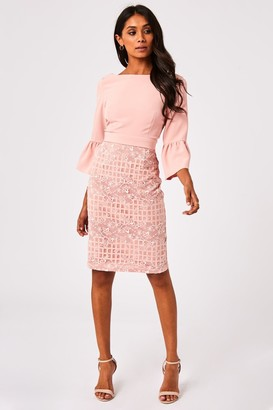 Paper Dolls Lioni Blush Lace Check Bow Back Pencil Dress