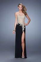 La Femme 21472 Strapless Sweetheart Appliqued Gown