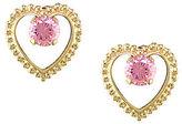 Disney Princess Pink Diamonique Heart Stud Earrings, 14K Gold