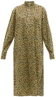 Connolly - Leopard-print Cotton Midi Dress - Green Multi