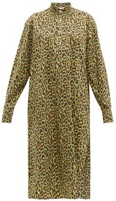 Connolly - Leopard-print Cotton Midi Dress - Womens - Green Multi