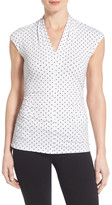 Vince Camuto Pleat Side Ruched V-Neck Top (Petite)
