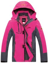 Wantdo Women's Front Zip Hooded Raincoat Windbreaker Running Jacket