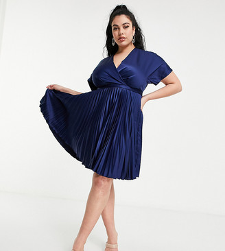 Closet London Plus wrap front pleated midi skater dress in navy