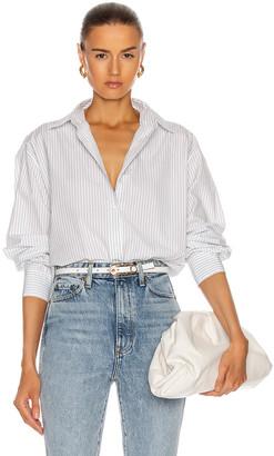 Nili Lotan Yorke Shirt in Blue & White Stripe   FWRD