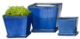 Williams-Sonoma Williams Sonoma Blue Square Ceramic Planter Set