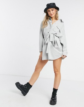 ASOS DESIGN long sleeve belted shirt dress with poppers in grey
