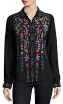 Johnny Was Yoshi Embroidered Button-Front Blouse, Black, Plus Size