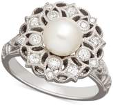 Arabella Cultured Freshwater Pearl (7mm) and Swarovski Zirconia Ring in Sterling Silver