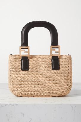 Fendi Mini Leather-trimmed Raffia Tote - Neutral