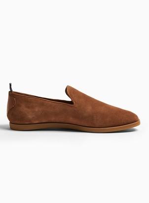 Topman HUDSON Tan Suede Parker Slip On Shoes