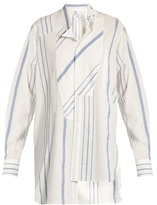 Loewe Asymmetric wing-collar striped cotton-blend shirt