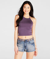 Aeropostale Womens Solid High-Neck Crop Tank Shirt