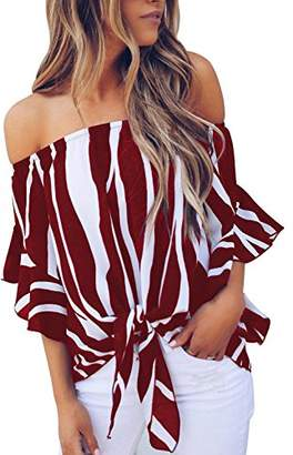 Actloe Women Plus Size Casual Off The Shoulder Striped Printed Shirts Bell Sleeve Front Tie Knot Blouses Maternity Tops XXL