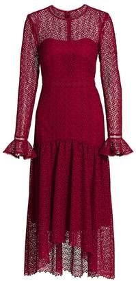 ML Monique Lhuillier Lace Long Sleeve Midi Dress