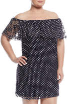 Neiman Marcus Off-The-Shoulder Polka Dot Lace Dress, Plus Size