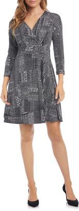 Karen Kane Print Faux Wrap Dress