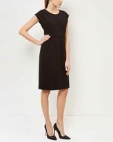 Jaeger Pleat Shoulder Crepe Dress