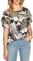 CeCe Tropical Print Tiered Ruffle Sleeve Top