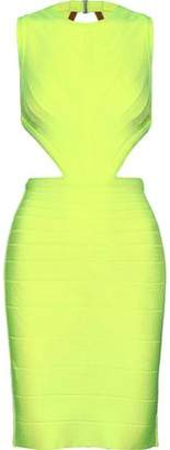 Herve Leger Cutout Neon Bandage Mini Dress