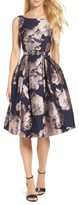 Eliza J Women's Belted Brocade A-Line Dress