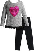 """Youngland Toddler Girl Split Back """"Love"""" Sweater & Leggings Set"""