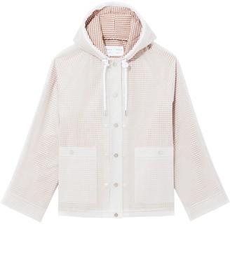 Proenza Schouler White Label Address Logo Print Short Lined Raincoat