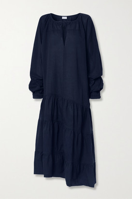 By Malene Birger Amily Asymmetric Tiered Striped Cotton-voile Maxi Dress - Midnight blue