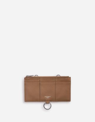 Dolce & Gabbana Large Card Holder With Cross-Body Strap In Mini Dollaro Calfskin