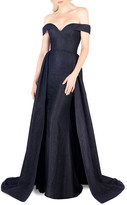 Mac Duggal Off-the-Shoulder Sweetheart Lace Column Gown with Overskirt