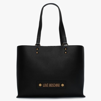 Love Moschino Studded Logo Black Tote Bag