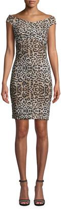Nicole Miller Leopard-Print Off-the-Shoulder Dress