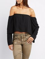 Charlotte Russe Off-The-Shoulder Tiered Sleeve Top