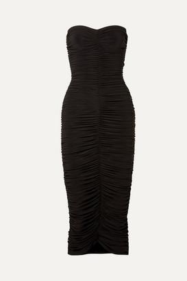 Norma Kamali Slinky Strapless Ruched Stretch-jersey Midi Dress - Black