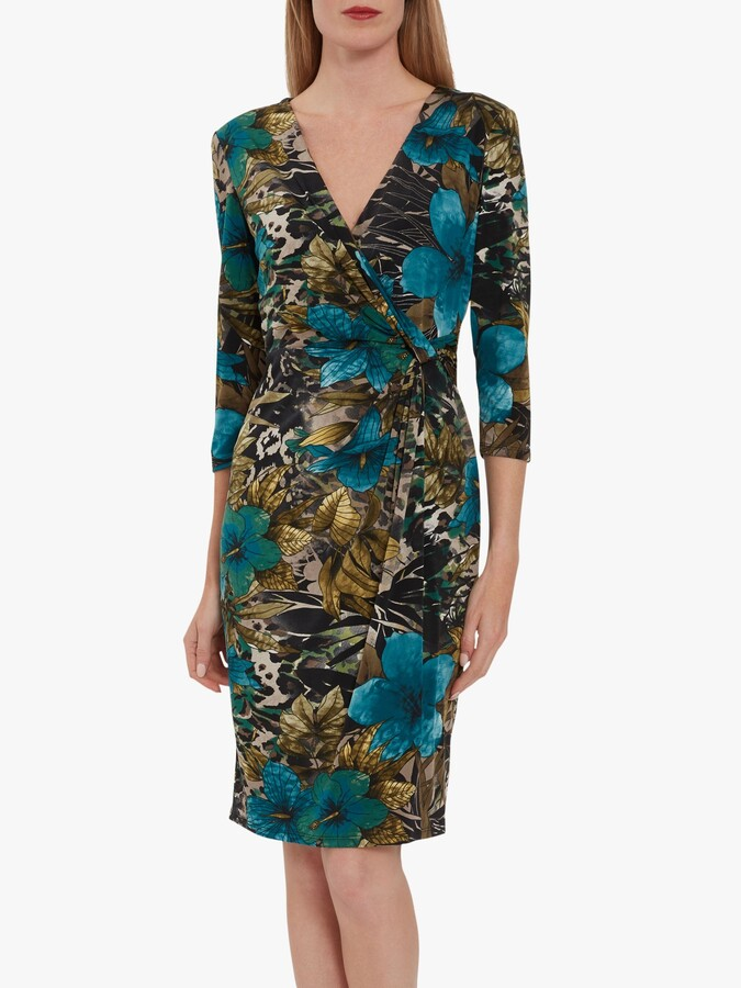 Thumbnail for your product : Gina Bacconi Kessly Jersey Knot Wrap Dress, Dark Beige