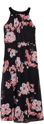 Robbie Bee Chiffon Floral Print Maxi Dress