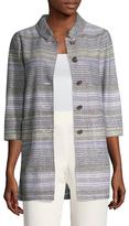 St. John Raya Striped Patch Pocket Coat