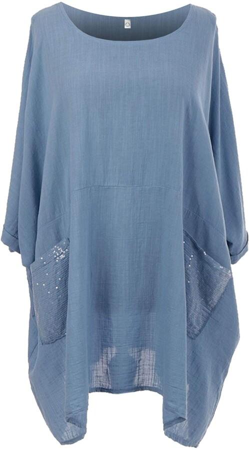 Ladies Italian Plain Tunic Top Womens Lagenlook Oversized Cotton Sequin Pockets