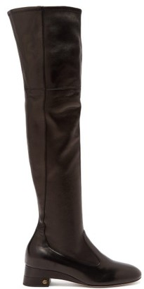 Gucci Claus Over-the-knee Leather Boots - Womens - Black