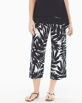Soma Intimates Wide-Leg Crop Pants Painted Palm Black