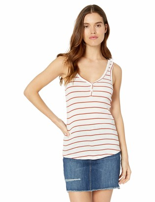 Lucky Brand Women's V Neck Tank TOP with Button Detail