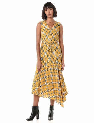 Vince Camuto Women's Sleeveless V-Neck Highland Plaid Belted Dress